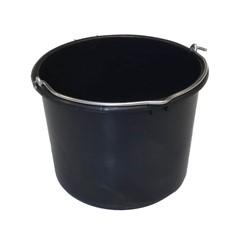 Bouwemmer 12L Zwart Verzwaard