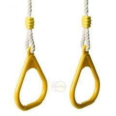 Kunststof driehoekringenset touwlengte 250 cm kleur geel