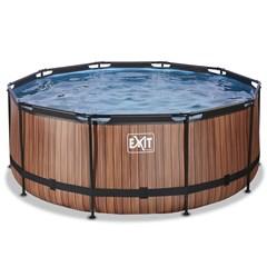 EXIT Opzetzwembad Wood Bruin Rond - Ø 360 x 122 cm