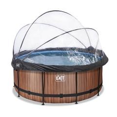EXIT Opzetzwembad Wood Bruin Met Overkapping en Warmtepomp Rond - Ø 360 x 122 cm