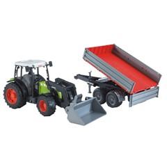 Bruder 02112 - Claas Nectis 267 F Tractor Met Voorlader en Trailer 1:16