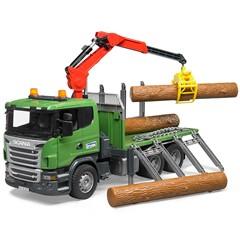 Bruder 03524 - Scania R Serie houttranssporter met kraan en 3 boomstammen 1:16