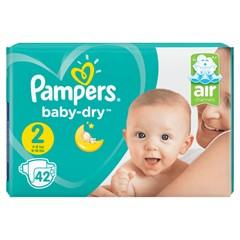 Pampers Baby-Dry Maat 2, 42 Luiers, Voor Droge Ademende Huid