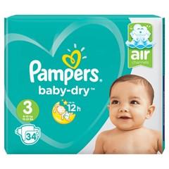 Pampers Active Baby-Dry Baby-Dry Maat 3, 34 Luiers, Voor Droge Ademende Huid