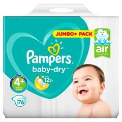 Pampers Baby Dry Maat 4+, 76 Stuks