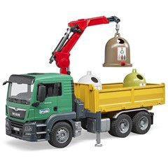 Bruder 03753 - MAN TGS truck met Kraan, Laadbak en Glascontainers