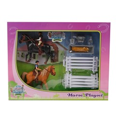 Kids Globe 640072 - 2 Paarden, Ruiters en Accessoire 1:24