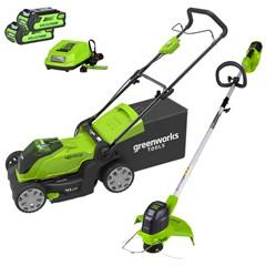 Greenworks Accu Grasmaaier + Trimmer 40 Volt Met 2x 2.0 Ah Accu En Lader