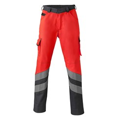 HaVeP Werkbroek High Visibility 8704 Fluor rood/charcoal grijs