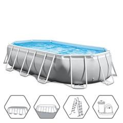 Intex Prism Oval Frame Zwembad 503 x 274 x 122 cm - Met Zwembadpomp