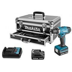 Makita DF347DWEX3 14,4 V Boor-/schroefmachine met 2 accu's + 70-delige acc set