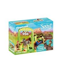 PLAYMOBIL Spirit Riding Free 70120 - Knip en Meneer Worteltjes met paardenbox