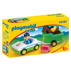 PLAYMOBIL 1.2.3 70181 - Wagen met paardentrailer