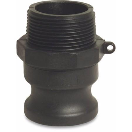 Snelkoppeling PP 1/2 inch V-deel Camlock x buitendraad zwart type Camlock F