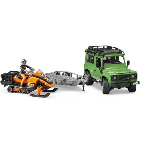 Bruder 02594 - Land Rover Defender met Sneeuwscooter 1:16