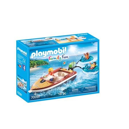 PLAYMOBIL Family Fun 70091 - Motorboot met funtubes